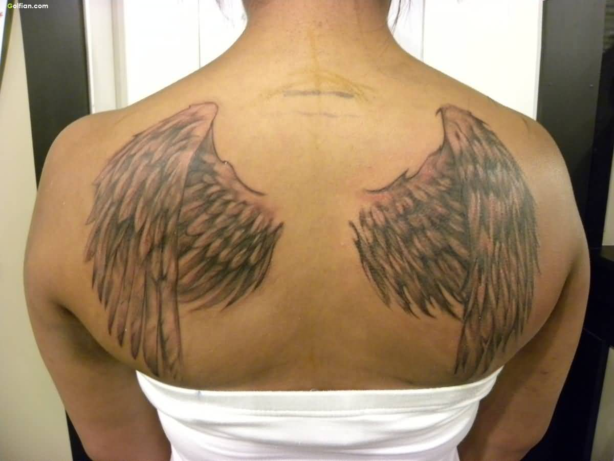 Cool 3d Angel Wings Tattoo On Cool Back