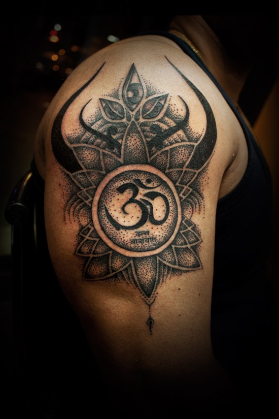 Impressive Dotted Om And Trishul Tattoo With Flower Segerioscom
