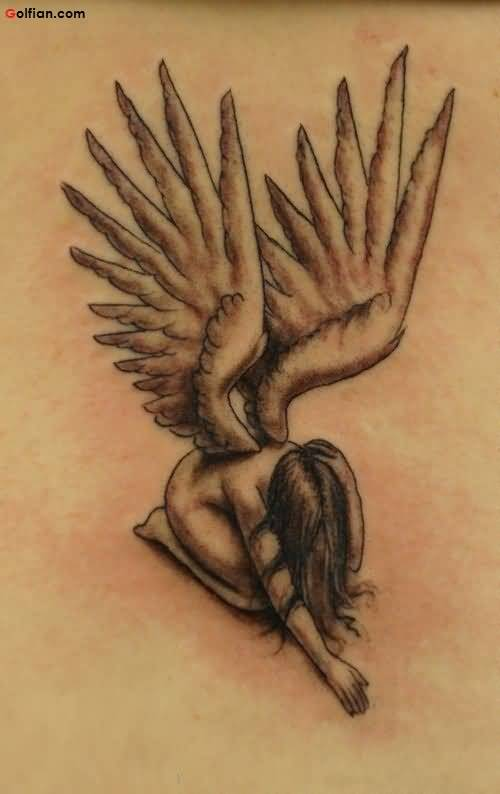 Grey Ink Sad 3d Angel With Wings Tattoo Design