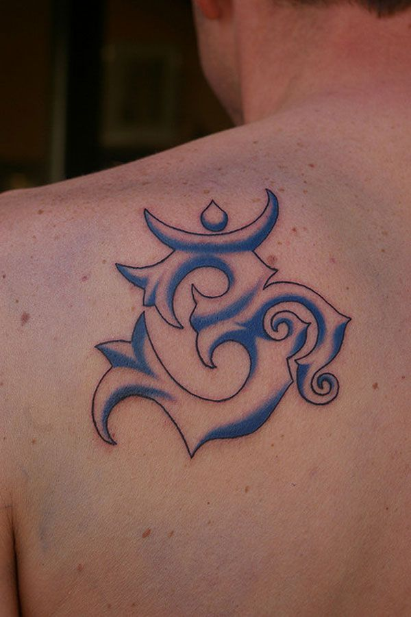 Superb And Simple Tribal Om Sign Tattoo On Upper Back Body