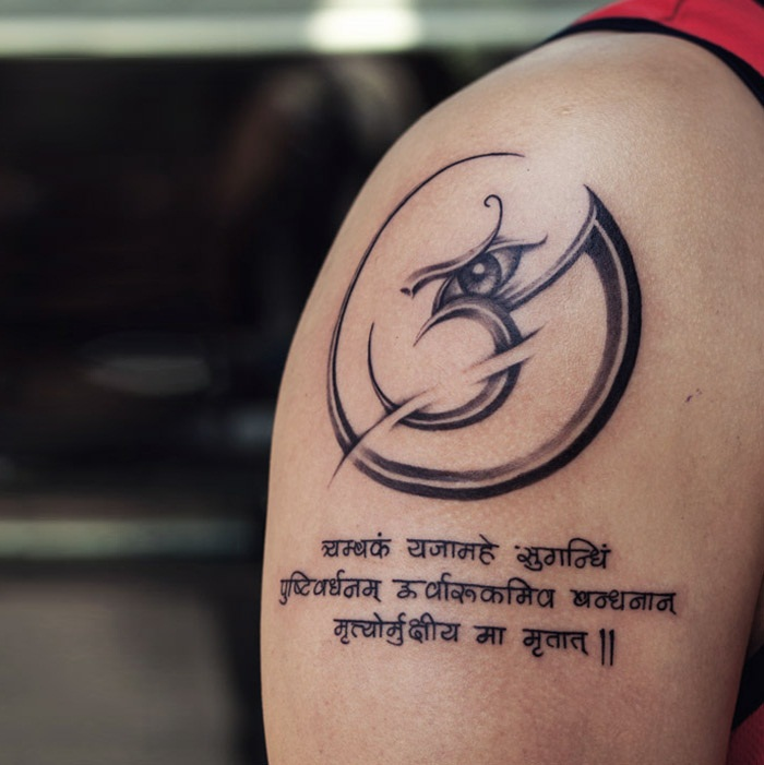 Third Eye Of Shiv And Tribal Om Sign Tattoo On Men Shoulder With Sanskrit Mantra