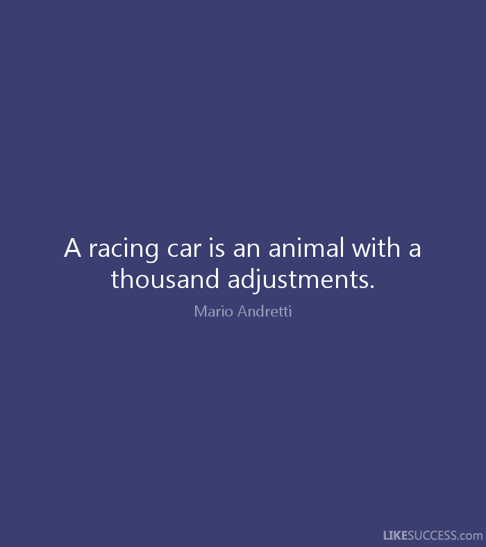 A racing car is an animal with a thousand adjustments. Mario Andretti