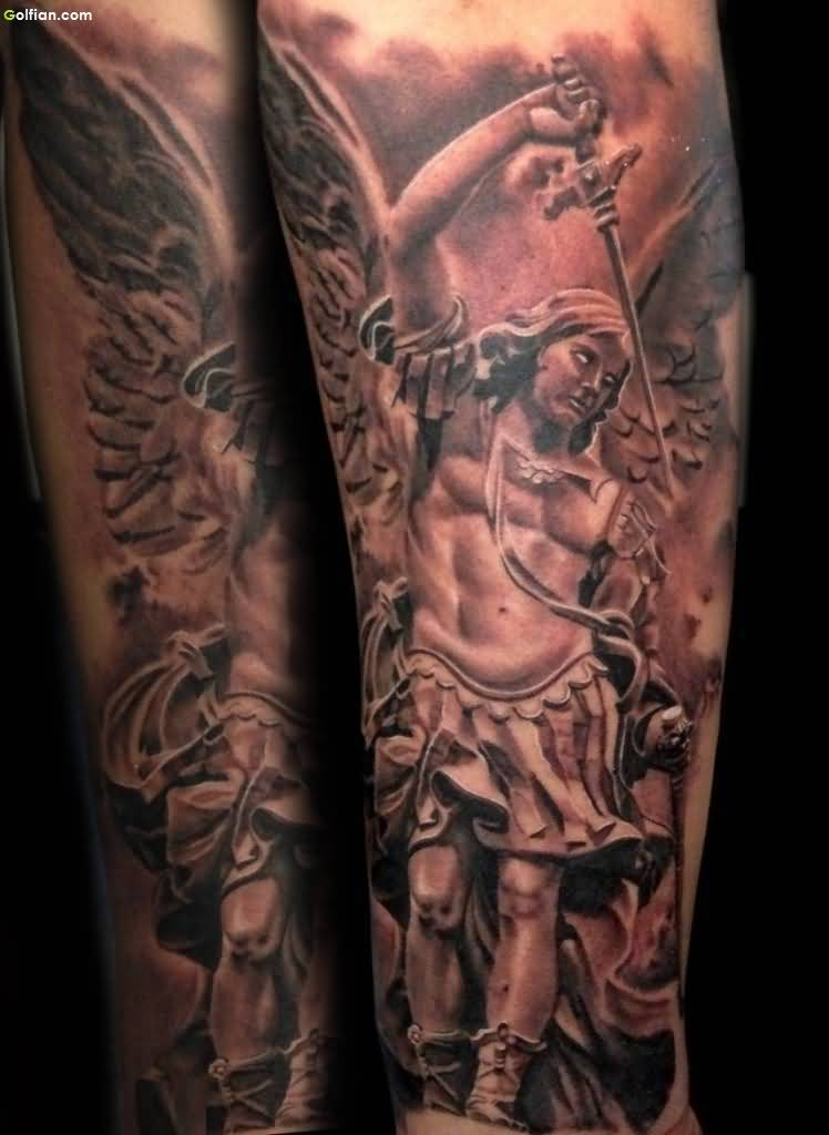 Amazing Angel Warrior And Sword Tattoo Design
