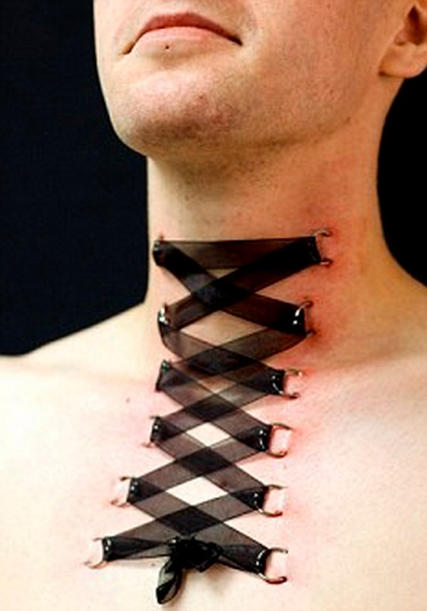 Amazing Black Corset Ring Piercing Neck To Chest For Men
