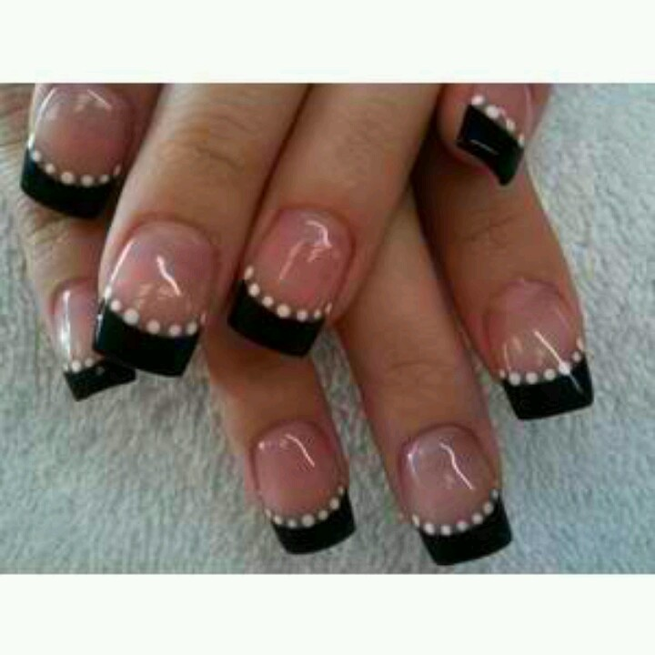 Amazing Black French Tip Nail Dot Art Idea