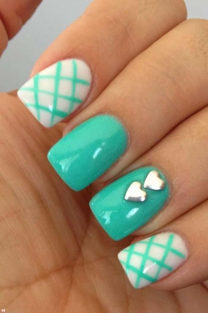 Amazing Green Silver Heart French Tip Cross Nail Idea