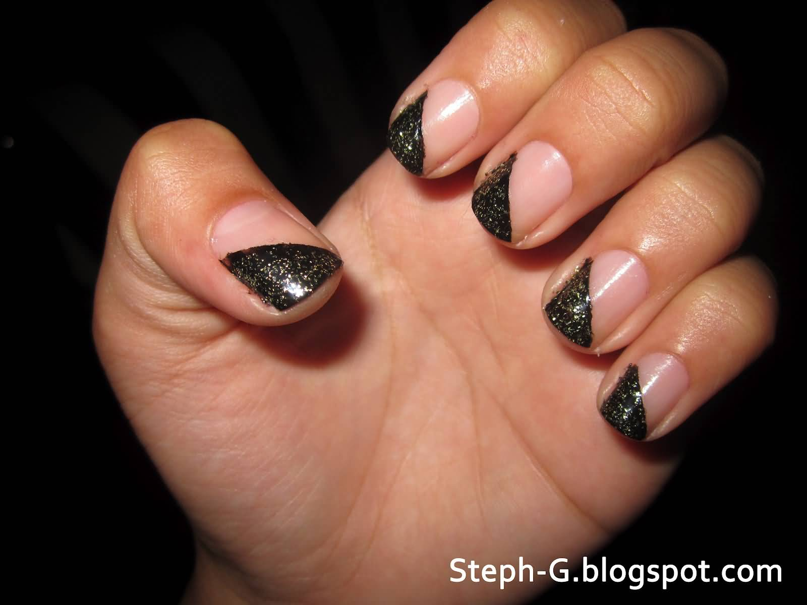 Amazing Half Black French Tip Nail Art Design Idea