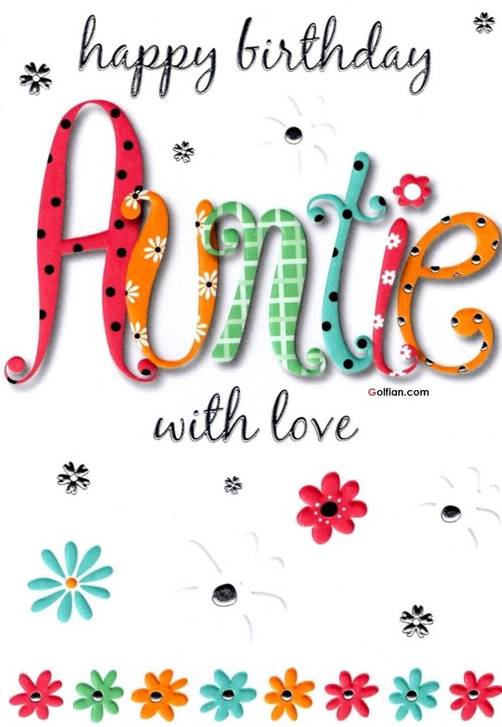 Amazing Happy Birthday Auntie With Love E Card Design