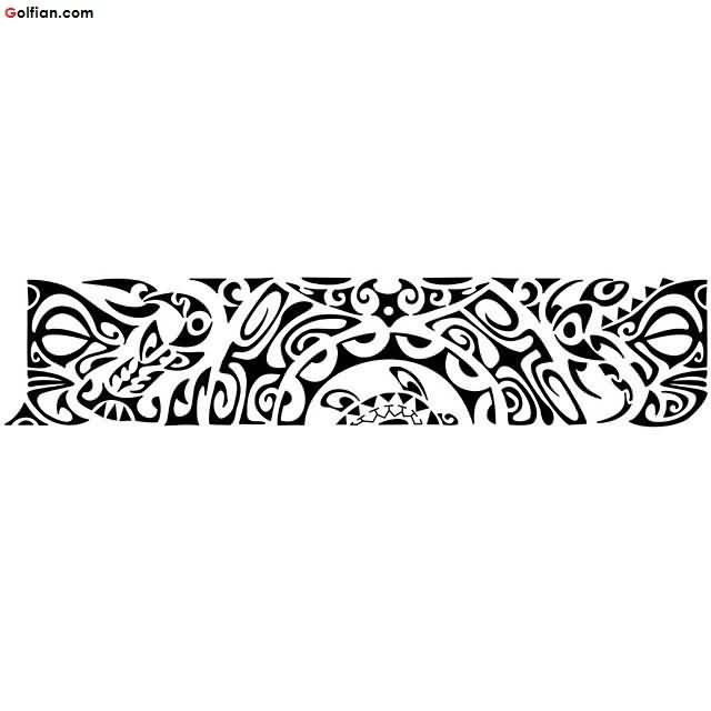 Amazing Polynesian Tribal Armband Tattoo Design Stencil