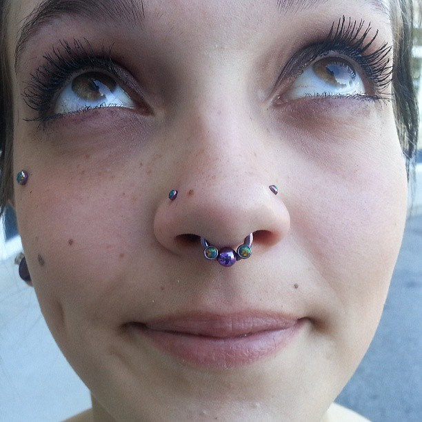 Amazing Silver Stud Piercing And Ring With Double Nose For Women