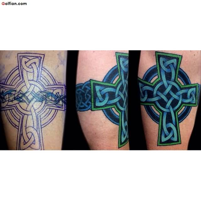Aqua Ink Cross Armband Tattoo Design Made By Artist