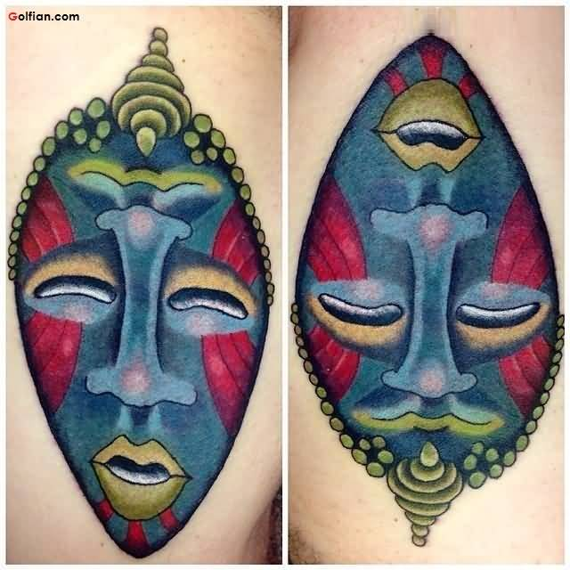 Attractive African Mask Tattoo Design
