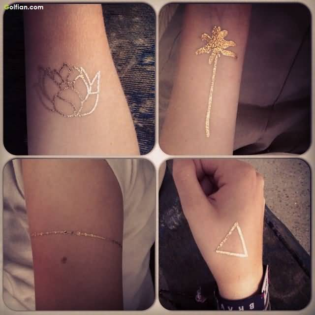 Awesome Gold Ink Simple Armband Triangle Flower Tattoo Design