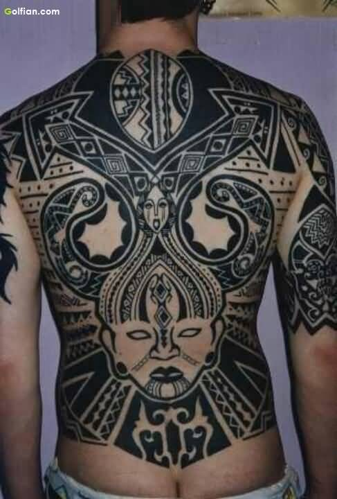 Best African Mask Tattoo Design For Men Back
