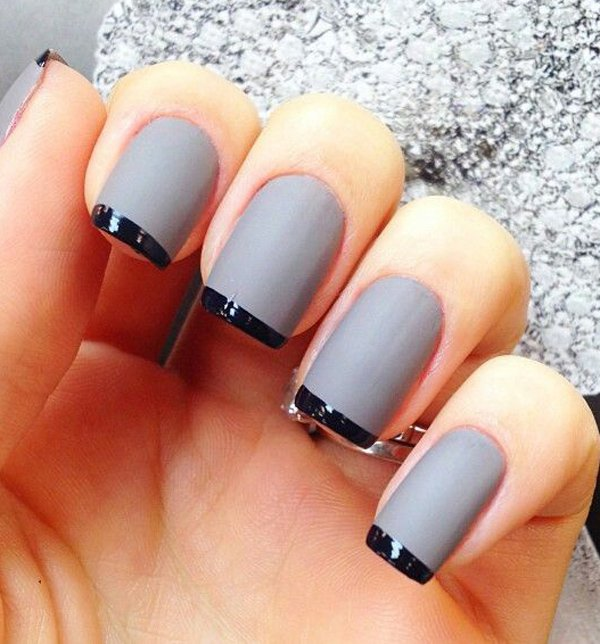 Best Black And Grey French Tip Nail For Wedding