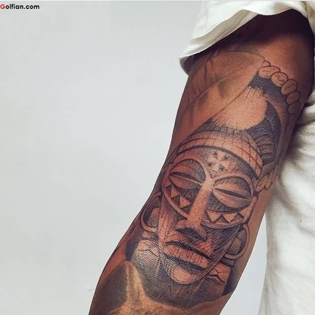 Brilliant Tribal African Mask Tattoo On Sleeve
