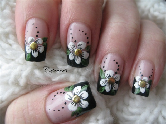 Colorful Flower French Tip Nail Art For Girls