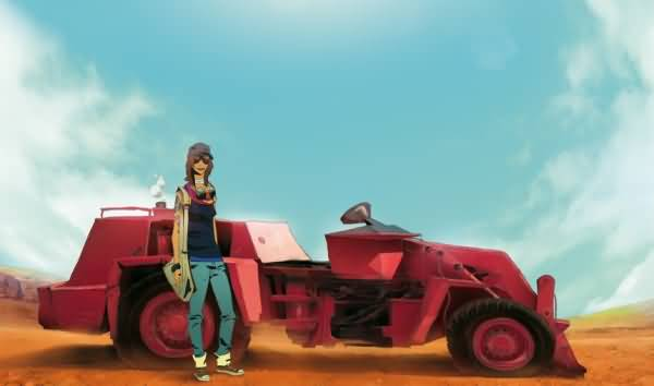 Cool Girl With Custom Made Car Concept Art By Auguy