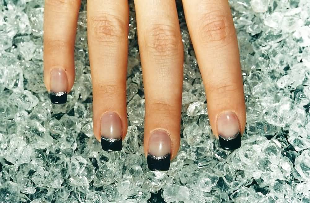 Coolest Black French Tip Nail Art Design