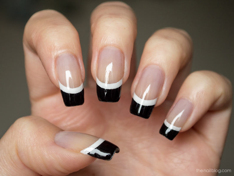 Coolest Black and White French Tip Nail Art Design