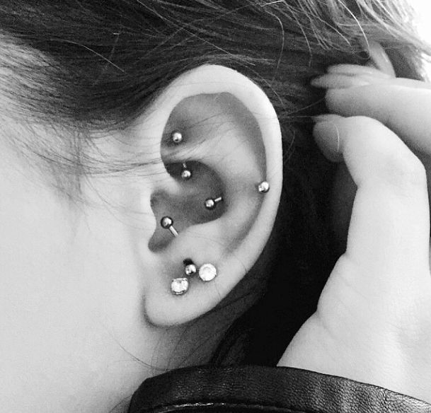 Coolest Girl Left Ear Decorated Piercing With Multiple Ear Ideas