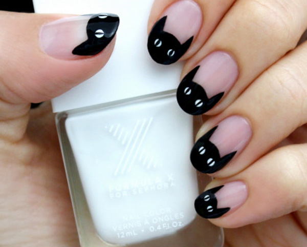 Cute Black Kitty French Tip Nail Art For Cute Girl