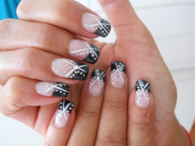 Dotted White and Black French Tip Nail Art Design