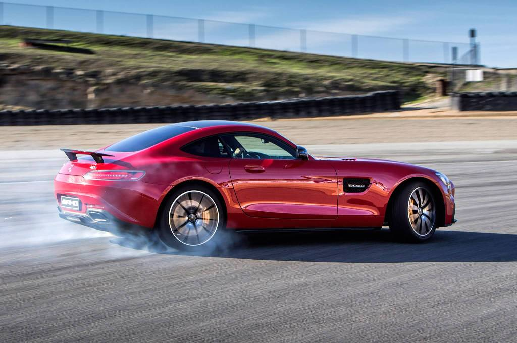 Drifting With Red Mercedes Benz AMG S Car On Track