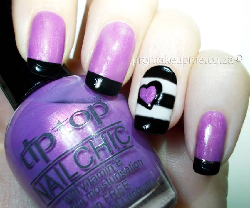 Fabulous Purple French Tip Nail Art Heart Design Ever