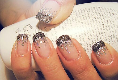 Fantastic Sparkle French Tip Nail Art Design Idea