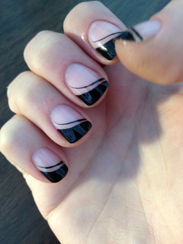 Glossy Black French Tip Nail Art For Party - Beautiful French Nails Designs - Segerios.com- - Segerios.com