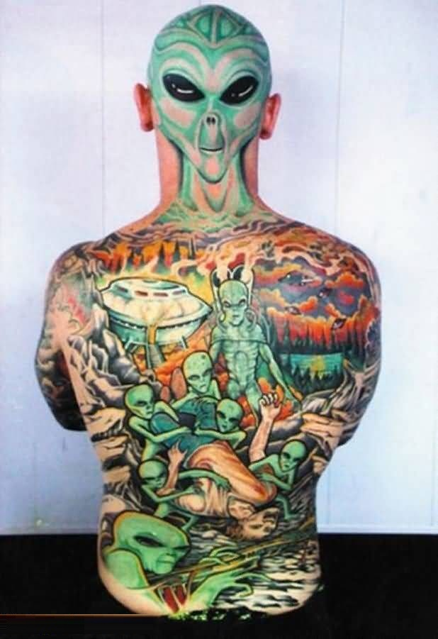 40 tremendous alien predator ufo tattoos. Black Bedroom Furniture Sets. Home Design Ideas