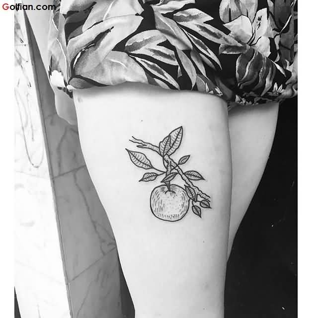 Grey Ink Fabulous Apple Fruit On Tree Tattoo For Girl Thigh