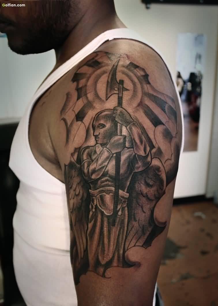 Impressive Grey Ink Angel Warrior And Axe Tattoo On Shoulder