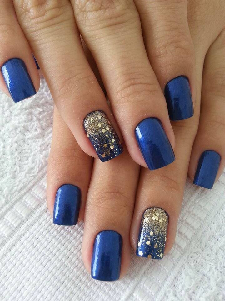 Lovely Blue French Tip Nail Idea For Party