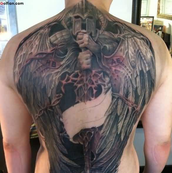Mind Blowing Angel Warrior And Sword Tattoo Design