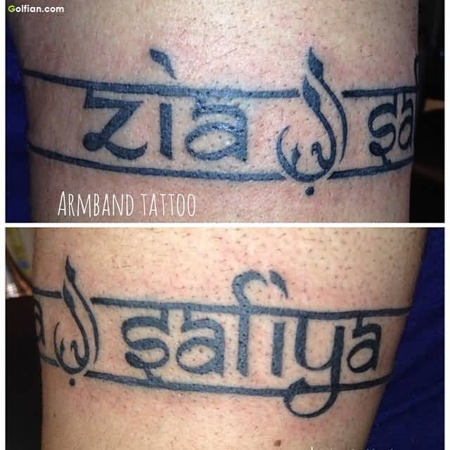 Mind Blowing Armband Name Tattoo Design On Men Sleeve