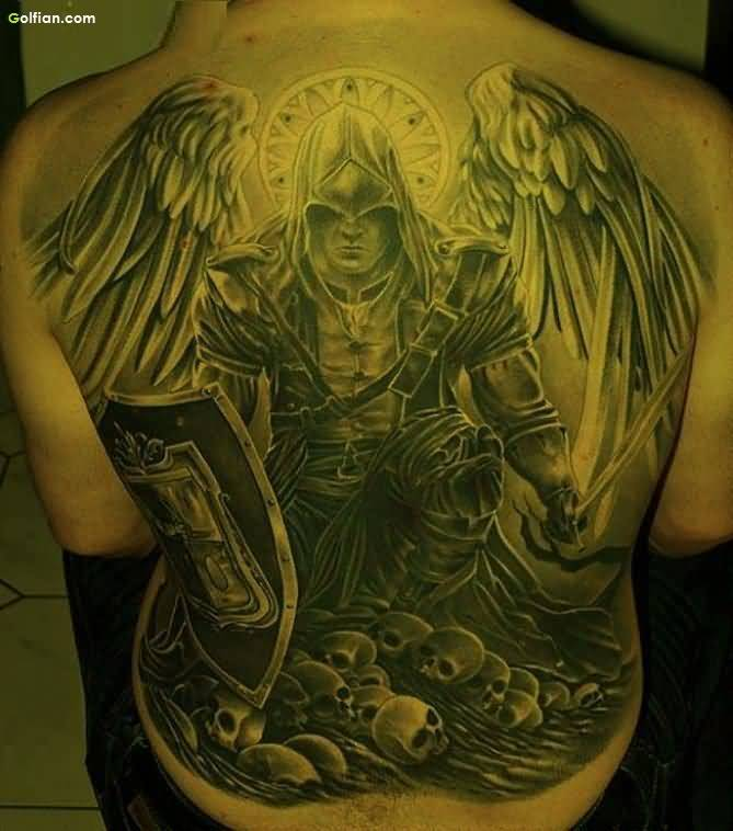 Mind Blowing Grey Ink Angel Warrior And Shield Tattoo On Men Back