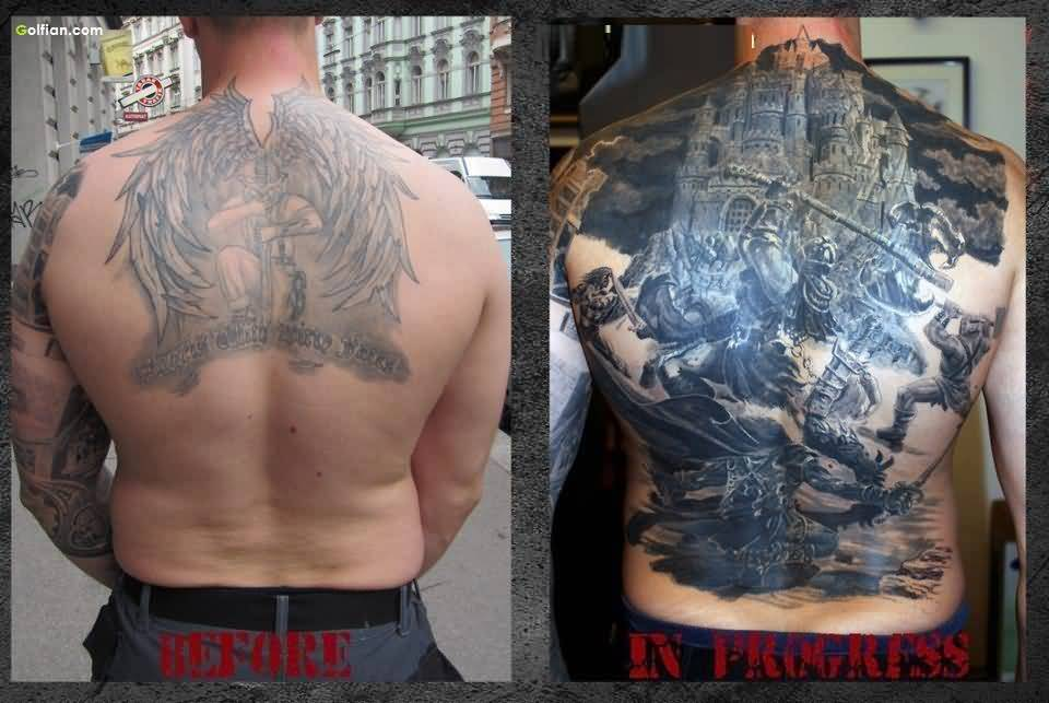 Mind Blowing Transformation Of Angel Warrior Back Tattoo