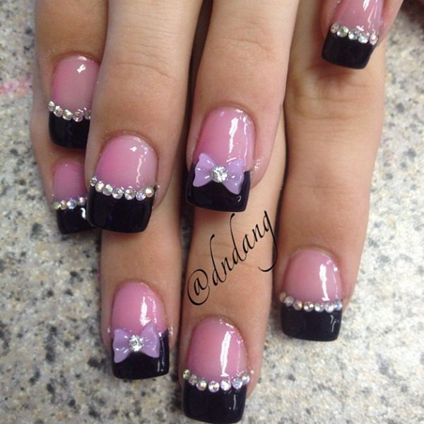 Most Amazing Pink French Tip Nail Bow Design