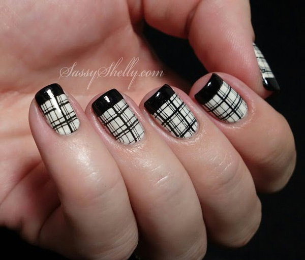 Nice Black Pattern French Tip Nail Design Art