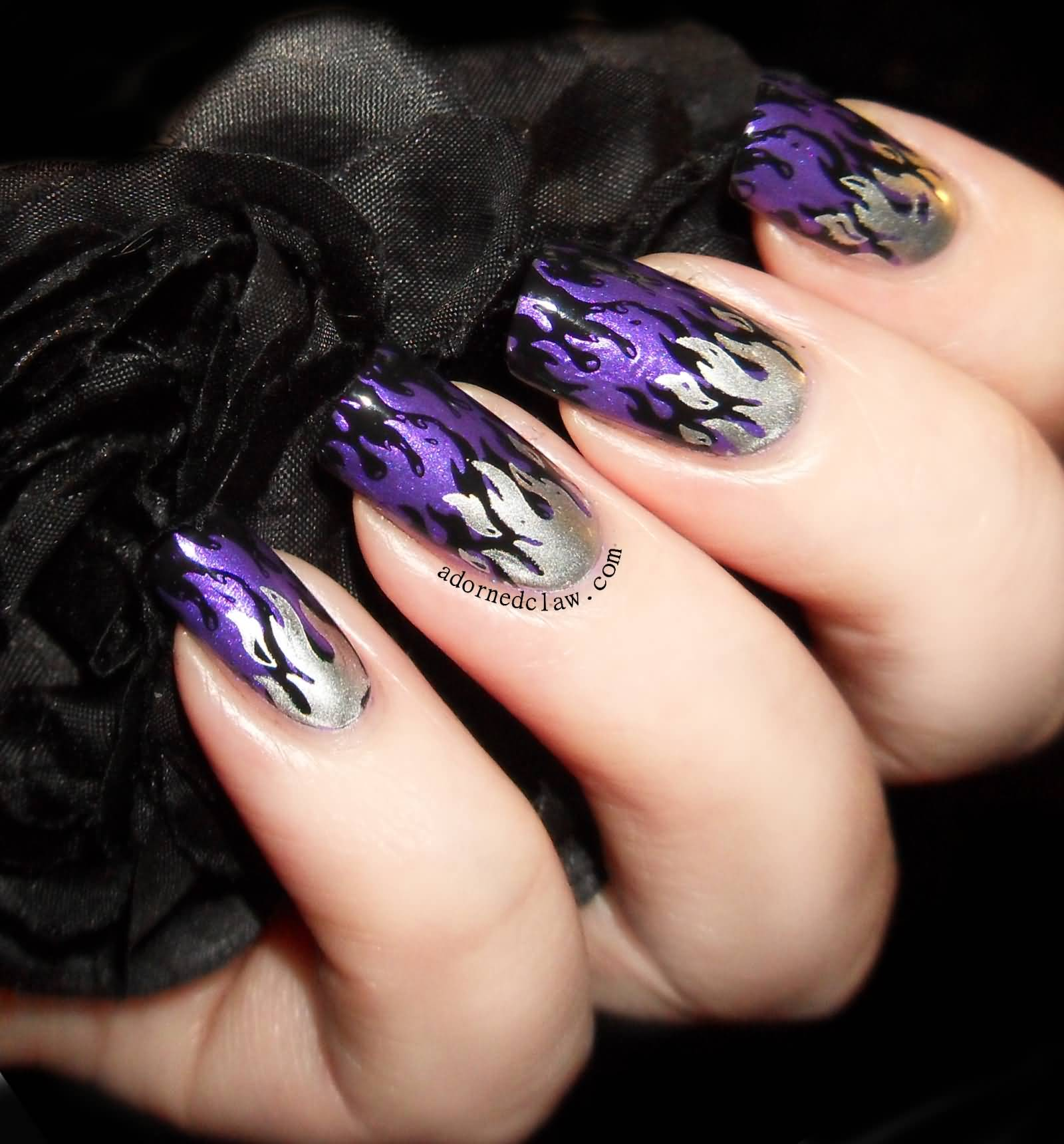Nice Purple Flame French Tip Nail For Girl
