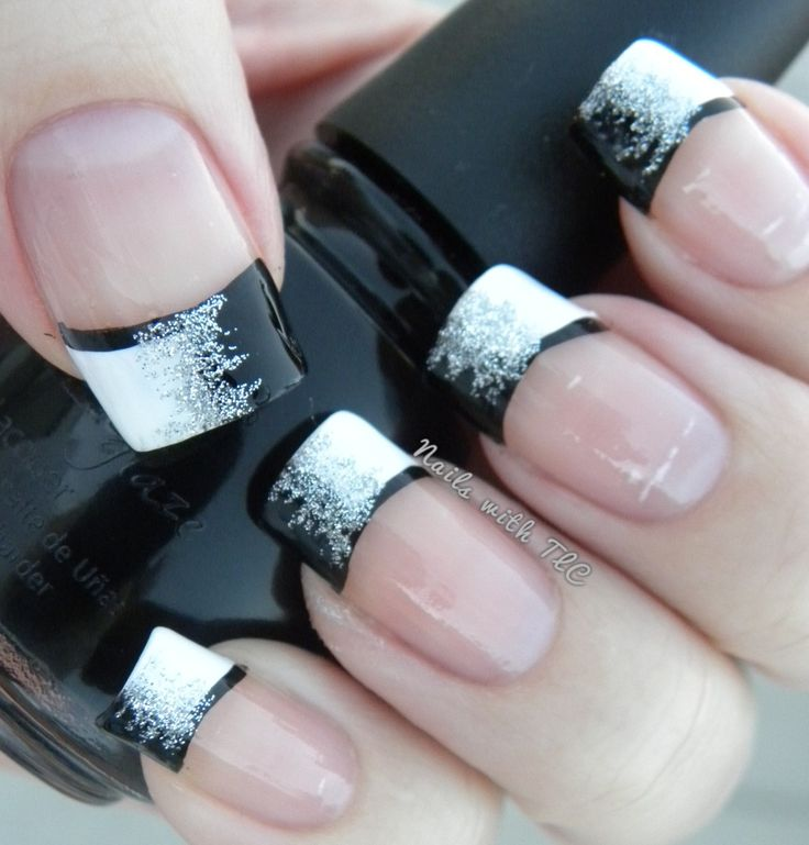 French Nails With Glitter Line - Segerios.com-