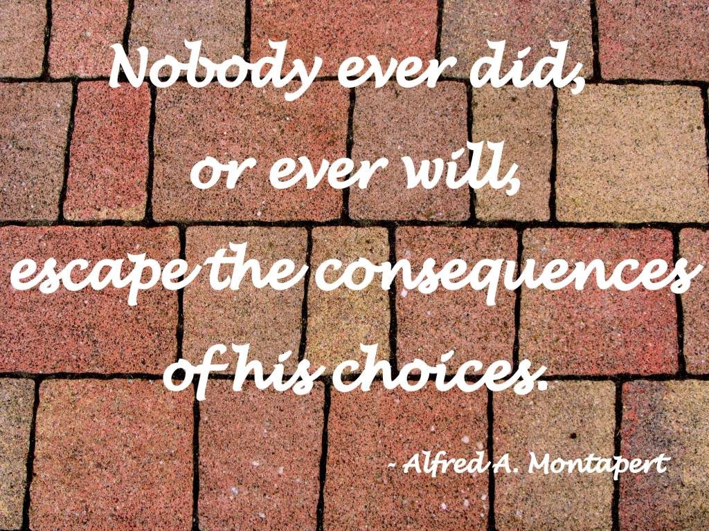 Nobody Ever Did, Or Ever Will, Escape The Consequences Of His Choices - Alfred Montapert
