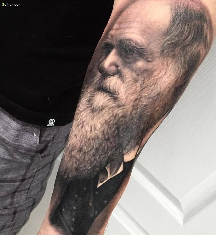 Old Man Grey Ink Forearm Beard Tattoo For Men