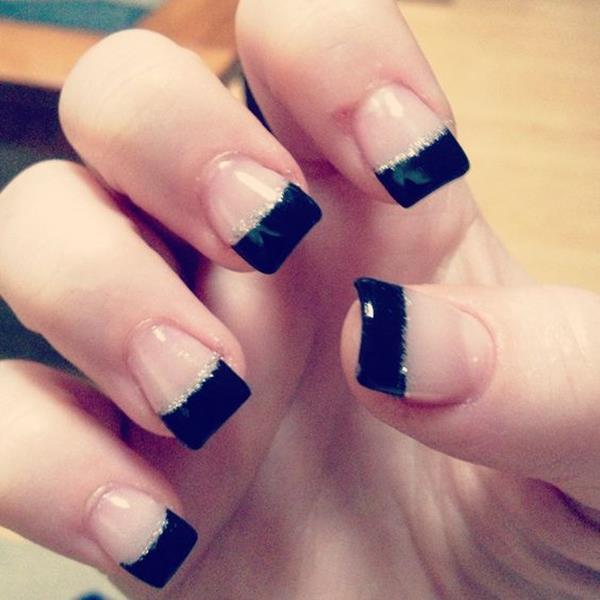 Outstanding Simple Black French Tip Nail Art Design For Women