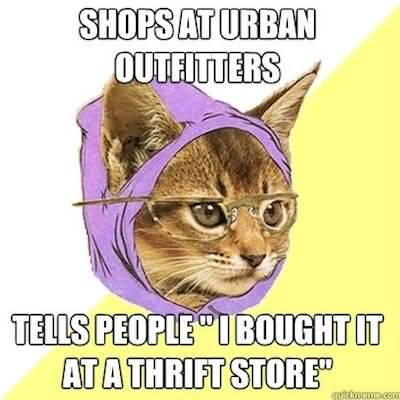 Shops at urban outfits tells people i bought it at a thrift store very funny social anxiety cat meme segerios com segerios com