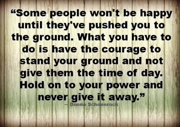 Some people won't be happy until they're pushed you to the ground - Donna Schaenrock