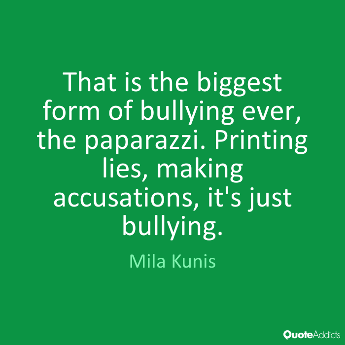 That is the biggest form of bullying ever, the paparazzi. Printing lies, making accusations, it's just bullying. Mila Kunis