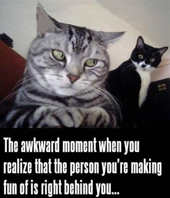 The awkward moment when you realize that the person you're making fun of is right behind you